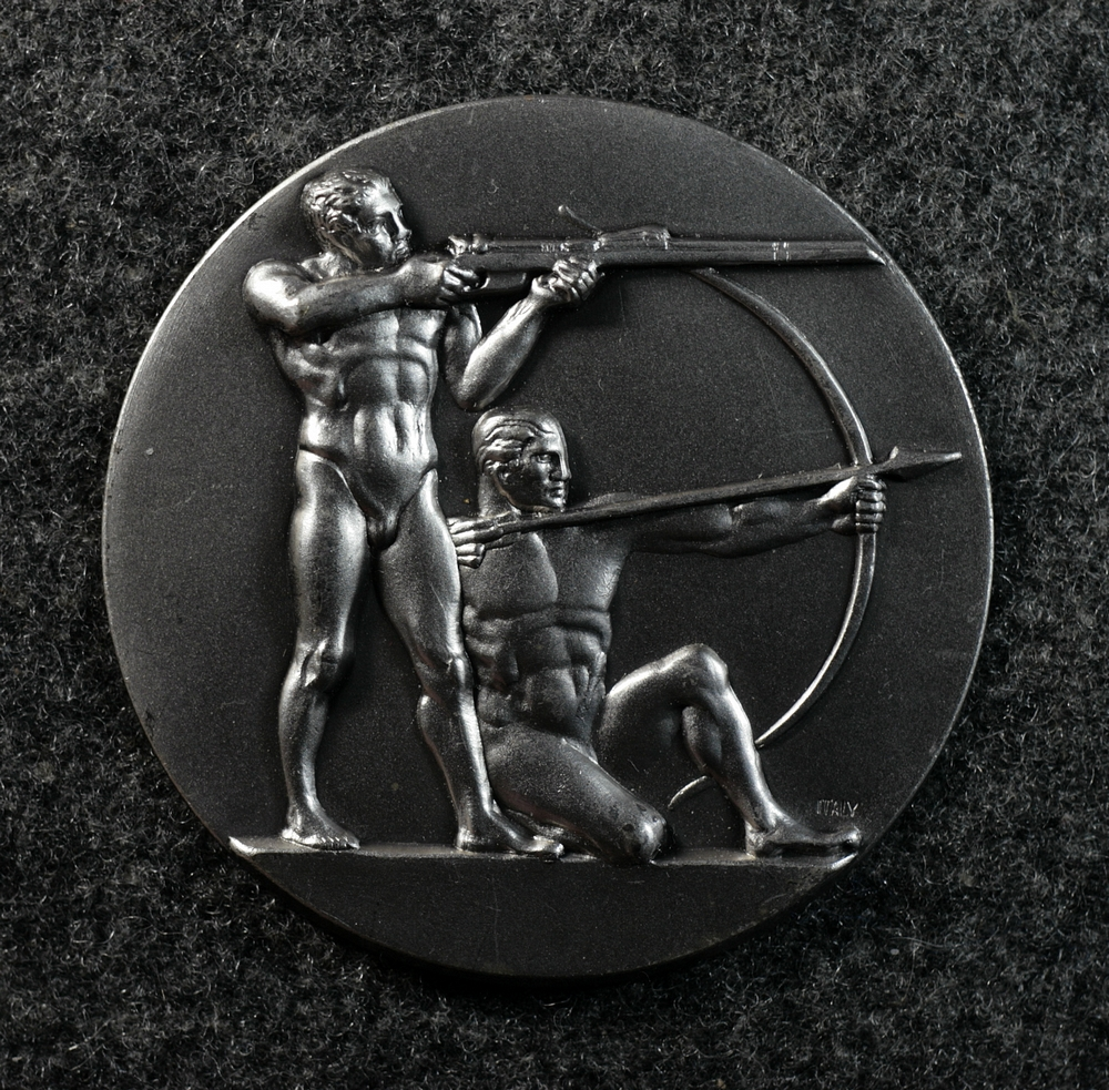 Marksman - nude men with rifle and bow and arrow